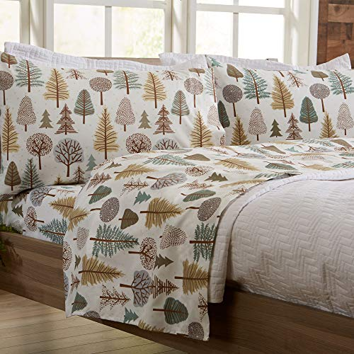 4-Piece Lodge Printed Ultra-Soft Microfiber Sheet Set. Beautiful Patterns Drawn from Nature, Comfortable, All-Season Bed Sheets. (Full, Forest Trail)