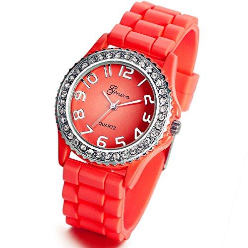 Reloj de cuarzo Lancardo, con pulsera de silicona, unisex, para niños, color rojo, con diamantes de imitación, incluye bolsa para regalo