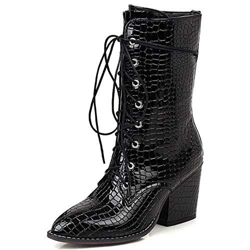 Gloednieuwe 2020 Big Size 48 Hoge Hakken Schoenveters Vrouwen Winter Schoenen Vrouwelijke Mode Beste Kwaliteit Dames Enkellaarsjes, Zwart, 9.5