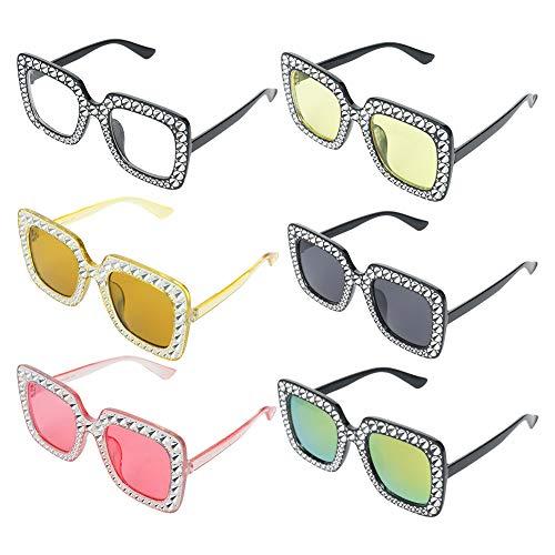 Spiralization Direct - Juego de 6 gafas de sol cuadradas grandes y brillantes para mujer