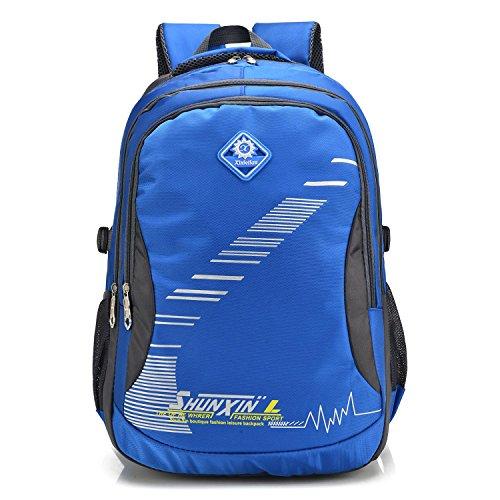 Randonnée sac à dos Outdoor sport grand espace récréatif portable multifonction Oxford sac à dos escalade voyage d'alpinisme sacs d'équitation étudiants Pack 4colors H52 x W35 x T21 cm , blue