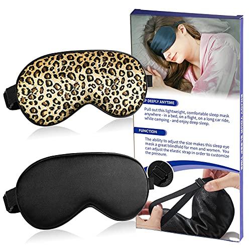 Máscara de ojos para dormir 2 piezas, suave seda para dormir, vendados con correa ajustable (negro+leopardo)
