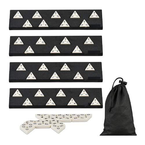 Relaxdays Dominó Triangular 56 Fichas, Juego Viaje, Polipropileno, 7,5 x 33 x 7,5 cm, Blanco-Negro