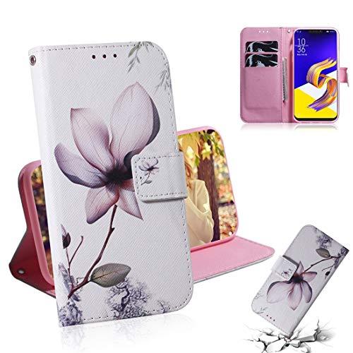 Caja del teléfono celular Whchhrh Magnolia Patrón de flores Dibujo de color Dibujo horizontal Funda de cuero para Asus Zenfone 5Z ZS620KL / ZENFONE 5 ZE620KL, con Soporte y tragamonedas y billetera
