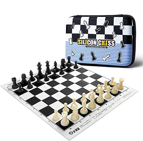 Silicone Chess Set - 15' Portable Chess Board Game Sets for Kids and Adults, Chess Set for Beginner, Natural Durable Chess Pieces and Chess Mat with Travel Case