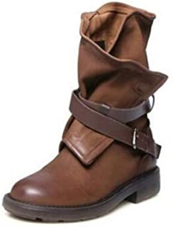 Women's Ankle Boots Fashion Vintage Mid Calf Soft Leather Comfortable Motorcycle Boots