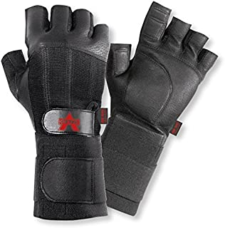 Valeo Industrial V440-WS All Leather Pro Fingerless Anti-Vibe Gloves with Wrist Strap, VI4878, Pair, Black, Medium
