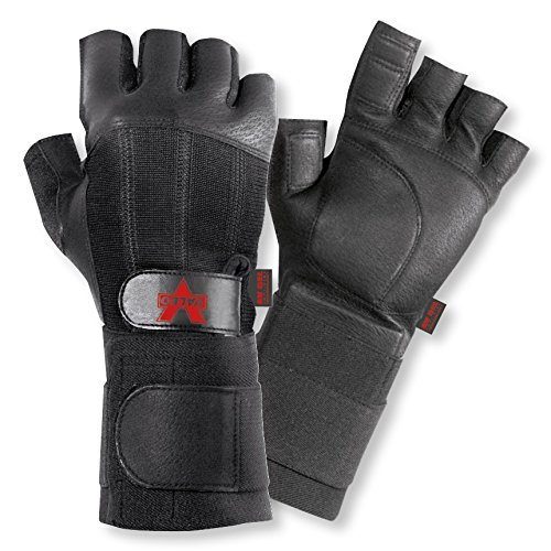 Valeo Industrial V440-WS All Leather Pro Fingerless Anti-Vibe Gloves with Wrist Strap, VI4878, Pair, Black, Large