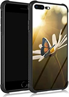 iPhone 8 Plus Case,Chamomile Monarch Butterfly iPhone 7 Plus Cases for Girls,Anti Scratch Reinforced Corners Tempered Glas...