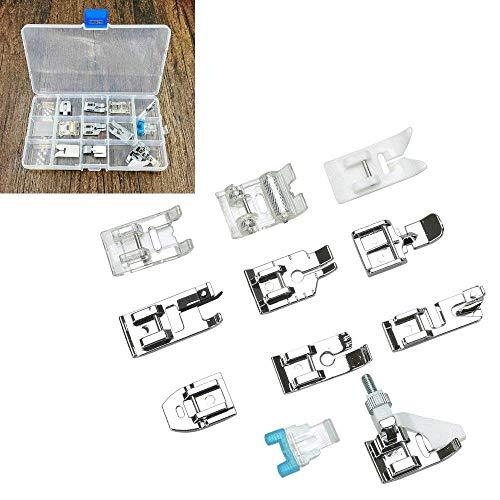 Juego de accesorios domésticos para máquina de coser (11 piezas) con caja de almacenamiento, prensatelas de repuesto para máquina de coser cantante Brother Janome Toyota Elna AEG
