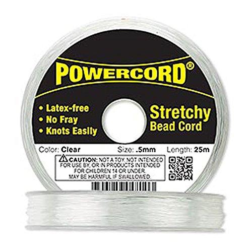Powercord Elastic Clear 0.5mm Diameter 5-pound Test. Sold Per 25-meter Spool.