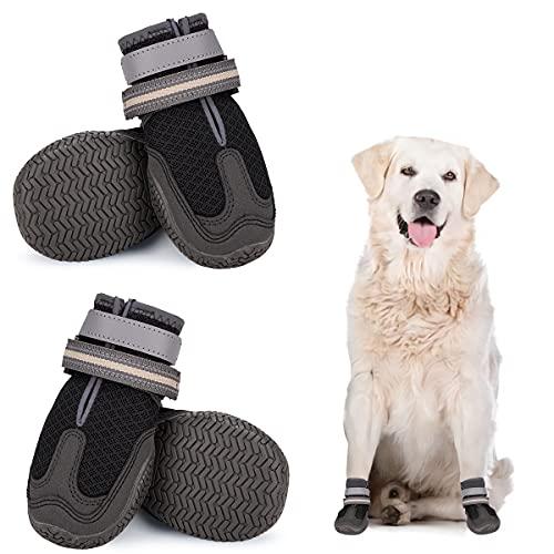 Dociote Hundeschuhe pfotenschutz 4 Stück mit Anti-Rutsch Sohle, reflektierendem Riemen, Klettverschluss wasserdicht für kleine mittelgroße große Hunde für Sommer Schwarz 6#