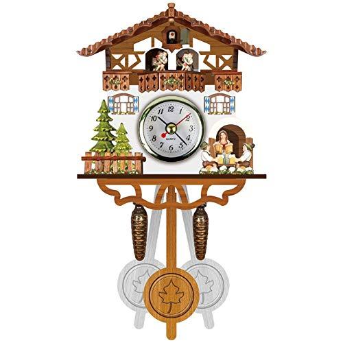 BCBKD Reloj De Cuco Alemán De La Selva Negra, Nuevo Reloj De Pared De Madera De Estilo Nórdico Retro Reloj De Péndulo De Madera Antiguo Vintage E,14x6x26CM