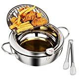 Tempura Deep Fryer Pot (3.2L/3.4qt) 18/8 Stainless Steel Deep Frying Pan with Thermometer and Oil...