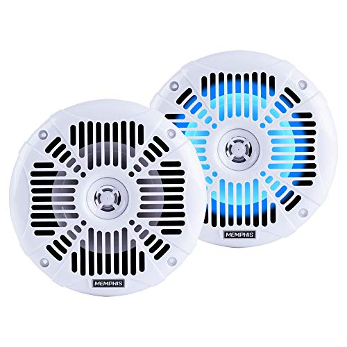"""Memphis MXA602SLW 6.5"""" 40W RMS 2-Way Marine Grade Construction Coaxial Speakers with RGB LED"""