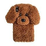 iPhone XS 専用携帯ケース もこもこ お洒落 テディー いぬ 犬耳 ポンポン ファー ぬいぐるみ 3Dソフトケース ふわふわ 女 かわいい アイフォン X 保護カバー (iPhone X/XS, White)