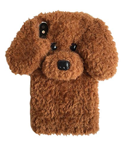 UnnFiko Super Cute Teddy Dog Fluffy Fur Case Compatible with iPhone 6 / iPhone 6s, Fuzzy Furry Warm Plush Soft TPU Winter Case Protective Covers (Teddy Brown, iPhone 6 / 6s)