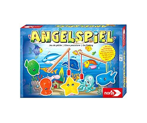 Noris 606041894 - Angelspiel - spannendes Kinderspiel mit bunten Kunststoff Fisch-Figuren und 2 Holz Angeln, ab 2 Jahren