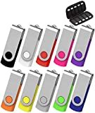 AreTop 64GB Flash Drive USB 10 Pack, 64GB USB 2.0 with Easy-Storage Bag 10PCS Mix-Colors Pendrive Memory Stick Thumb Drives Jump Drive Bulk Flash Drive(10PCS 64GB, Multicolors)