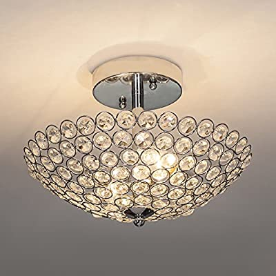 POPILION Modern Design Stainless Steel 2 Light Ceiling Flush Mount Crystal Chandelier Lighting,Crystal Ceiling Light Fixture Suitable for Bedroom, Living Room
