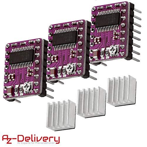 AZDelivery 3 x DRV8825 Schrittmotor-Treiber-Modul mit Kühlkörper, z.B. für RAMPS 1.4, CNC-Shield, 3D Drucker, Prusa Mendel