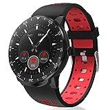 HopoFit Smartwatch Reloj Inteligente, HF06 Pantalla Táctil Completa Circular Impermeable Podómetro Pulsómetros, Monitor de Sueño, Notificación Llamada y Mensaje,para Andriod iOS,Hombres Mujeres (Red)