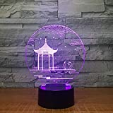 KINGBENG Altes Pavillonlampen-Tischlampenfarbänderungstabellenlampennachtlicht-Valentinsgrußgeschenk 16 farben Nachtlicht 3D Licht Illusion Nachtlicht Visuelles Licht Kunst Licht Dekoration Leuchttisc