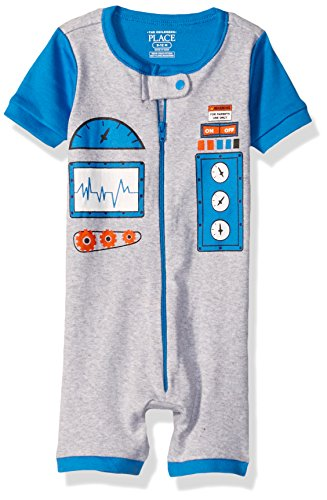 The Children's Place Baby Boys Printed Cropped Stretchie, Robot (Mist) 78623, 3-6 Months