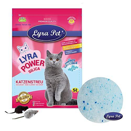 Lyra Pet® 12 x 5 L = 60 L Lyra Power Silikat Katzenstreu Katze Streu + 2 Mäuse