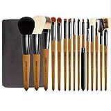 Conjunto completo de herramientas de maquillaje 15Pcs del maquillaje Cepillos Professional Premium sintético contorno Blush Fundación Correctores de sombras de ojos con los cepillos cosméticos bolsa d
