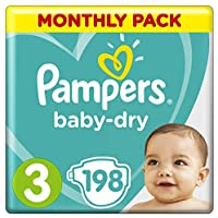 Pampers Baby-Dry Nappies Size 3 Crawler, 198 Nappies, 6 to 10kg, Monthly Pack