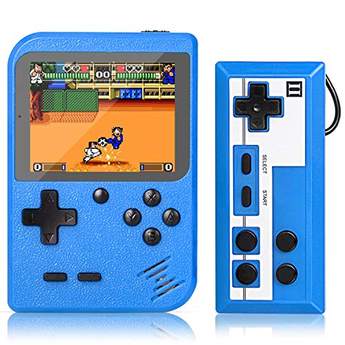 Handheld Game Console, Retro Mini Game Player with 500 Classic FC Games, 3.0 Inch Screen 800mAh Rechargeable Battery Portable Game Console Support TV Connection & Two Players for Kids Adults (Blue)