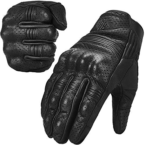 ILM Ziegenleder Leder Motorrad Motorrad Powersports Rennhandschuhe Touchscreen Für Männer und Frauen Schwarz(XL, schwarz perforiert)