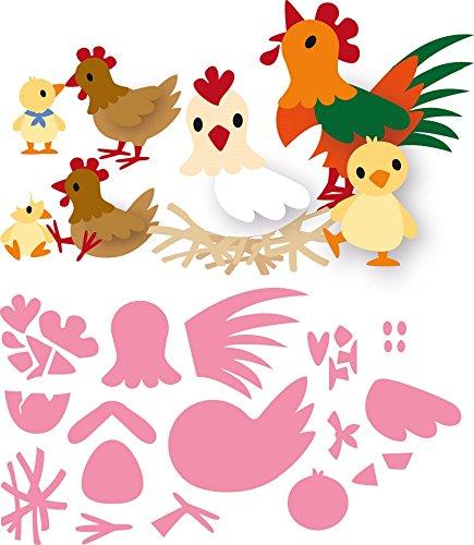 Marianne Design Collectables Eline s Chicken Family Die  Metal Pink  21 x 15.4 x 0.2 cm