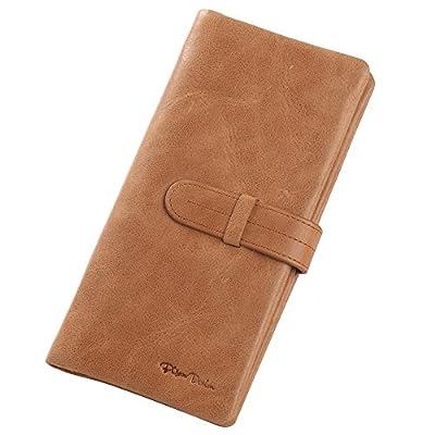 BISON DENIM Long Bifold Wallet Genuine Leather Credit Card Holder Billfold Checkbook Wallet with Coin Pocket for Women Men