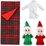 Skylety 2 Pieces Christmas Elf Dolls Baby Twins Red Green and 1 Pieces Christmas Elf Doll Sleeping Bag Red Plaid and 1 Pieces Elf Doll Bathrobe White Xmas Accessories for Elf Dolls
