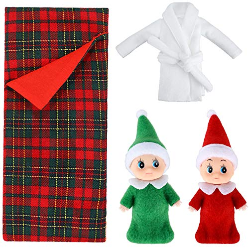 Skylety 2 Muñecos de Elfos Navideños Gemelos Bebé de Rojo