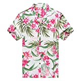 Hecho en Hawaii Camisa Hawaiana de los Hombres Camisa Hawaiana 3XL Rosa Floral con Hoja Verde...