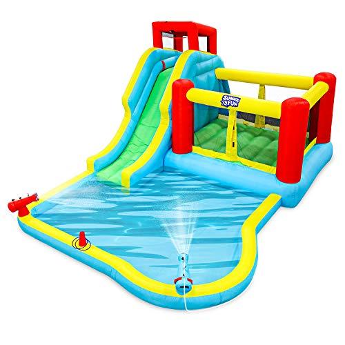 Deluxe Inflatable Water Slide Park – Heavy-Duty Nylon Bounce House for Outdoor Fun - Climbing Wall, Slide, Bouncer & Splash Pool – Easy to Set Up & Inflate with Included Air Pump & Carrying Case