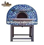 artistica salernitana Forno a Legna Napoletano per Pizzeria refrattario (Diametro Interno 120 cm, Blu)