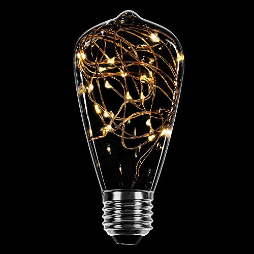 LED Deko Leuchtmittel Kupferkabel Edison ST64 1,6W = 10W E27 klar extra warmweiß 2200K