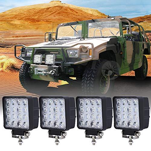 BMOT 4x48w LED Arbeitsleuchte,Scheinwerfer IP67 Wasserdicht 2430 LM,10-30V DC,6500K für Offroad