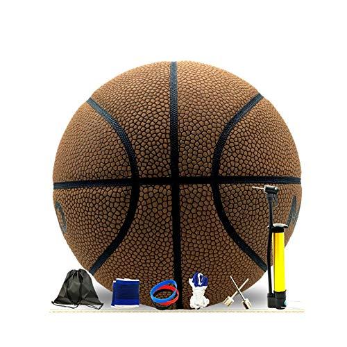 No. 7 Baloncesto profesional, material de cuero suave, resistente al desgaste, utilizado para entrenamiento y competencia interior y exterior, muy adecuado como regalo para niños (marrón claro)