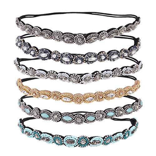Minkissy 6 pcs cheveux cerceau élastique perles strass incrusté bandeau cheveux accessoires pour femme fille dame