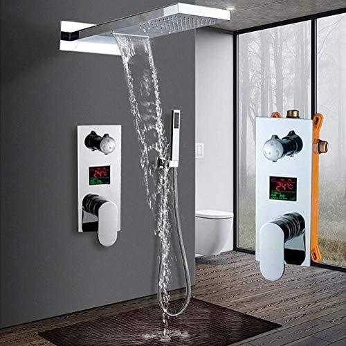 SISHUINIANHUA Wandmontage Badezimmer Regen Wasserfall Duscharmaturen Set Verdeckte Chrom Duschsystem Badewanne Dusche Mischbatterie Wasserhahn