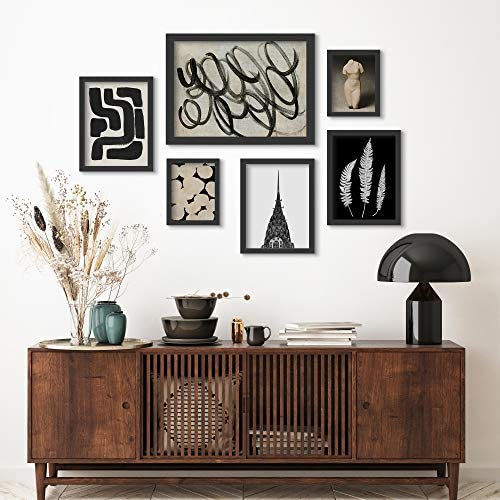 Americanflat Framed Gallery Wall Art Set 6 Piece Monochromatic Ink Maze Building Scribble by product image