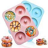 AMOE Moldes de silicona para hacer donuts ,Juego 2 Molde para Donut de Silicona para Hornear Donut, 6 Cavidades, para Hacer Galletas, Magdalenas, Pasteles, Bagels