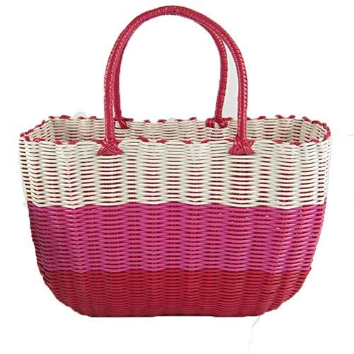 HUAQIGUO Cesta de plástico para la compra de verduras, cesta de almacenamiento portátil tejida colorida cesta de la compra tejida cesta de la compra (rosa, 34 x 14 x 24 cm)