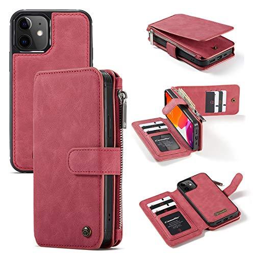 JDDRCASE 14 Ranuras para Tarjetas Diseño Multifuncional 2 en 1 Estuche Trasero Delgado Desmontable Funda de Cuero PU para iPhone 12 Mini (5.4 Pulgadas) (Color : Rojo)