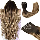 Clip in Hair Extensions, hotbanana Balayage Ombre Brown to Dirty Blonde Clip in Hair Extensions Real Human Hair Straight Remy Hair Clip in Hair Extensions 14 inch 120g 7pcs